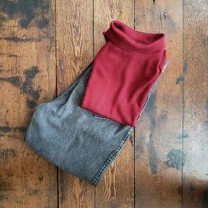 Vintage maroon silk knit sleeveless turtleneck